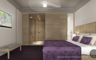 Belsőépítészeti látványtervezés hotel szobához