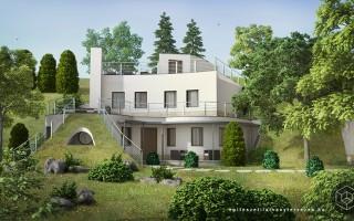 Építészeti látványtervezés dombház látványterv