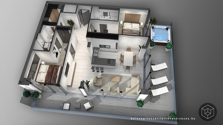 Penthouse 3d alaprajz látványtervezés