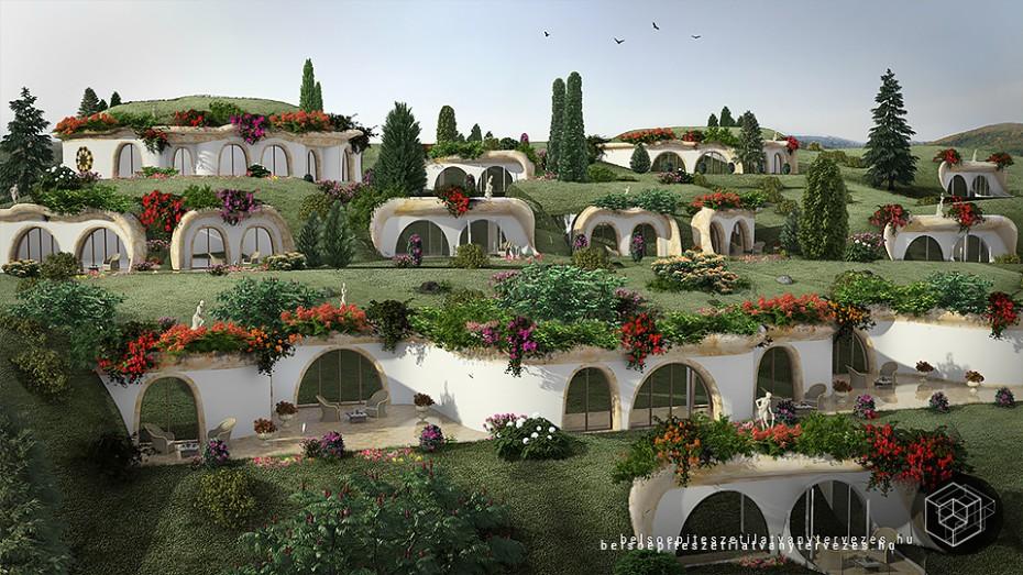 Építészeti 3d látványterv készítés - Dombház hotel vizualizáció