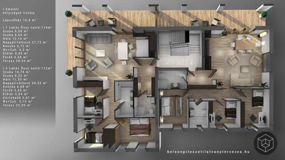 Marketing alaprajz építészeti látványtervezés